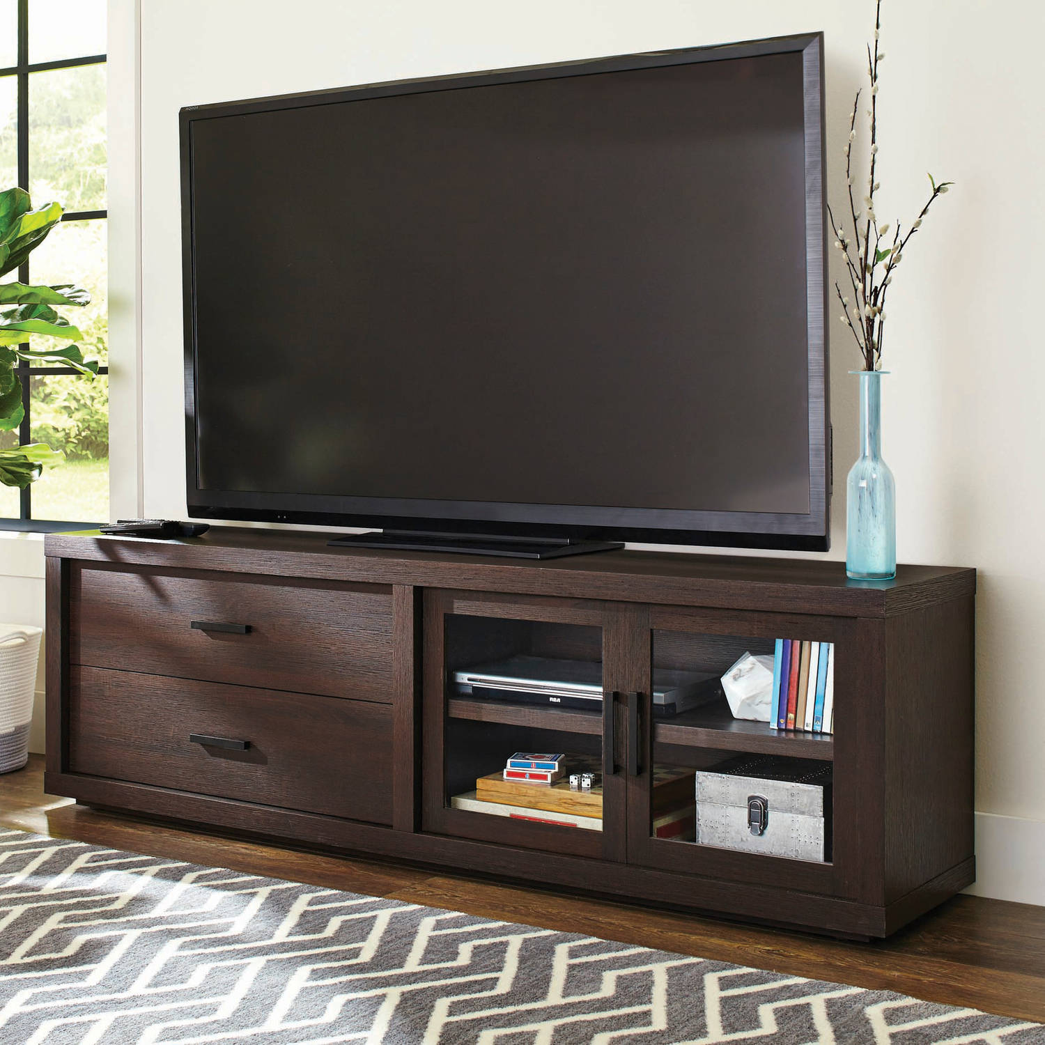 "Better Homes & Gardens Steele TV Stand for TV's up to 80"", Walnut Finish"