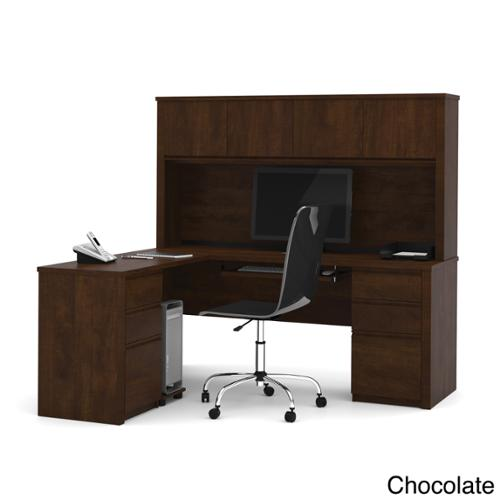 Bestar Prestige Plus L-shaped Workstation with Hutch and Dual Full Pedestals Bordeaux & Graphite (39)