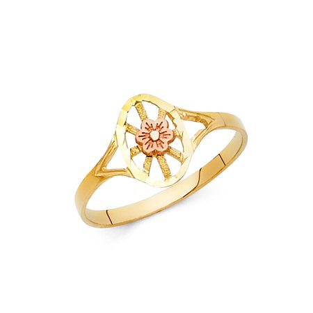 14k Two Tone Italian Solid Gold 10mm Oval Wheel Shape with Flower Floral Fashional Band Ring Size 8 Available All Sizes