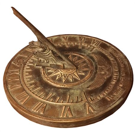 Brass Happiness Sundial - Colonial Sundial in Patina Finish