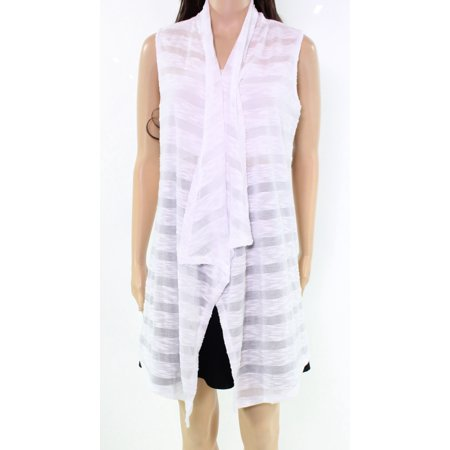 Sweater Vest Top - INC NEW White Burnout Stripe Women's Size Medium M Vest Sweater