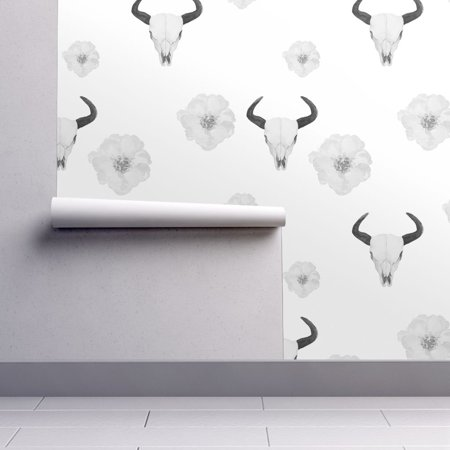 Removable Water-Activated Wallpaper Floral Skulls Monochrome Black White