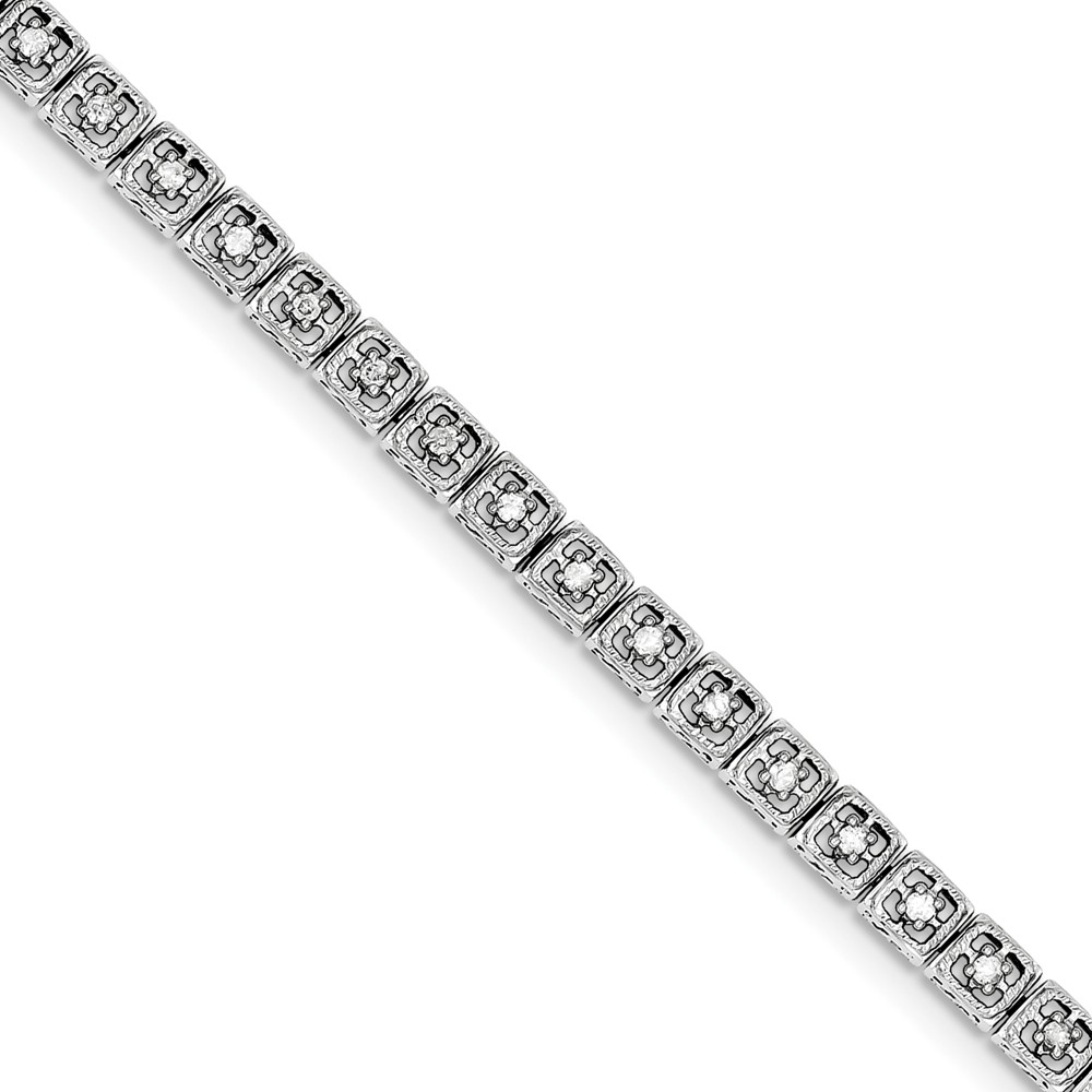 """925 Sterling Silver (.63cttw) Diamond Square Link Bracelet 097"""" (7in x 5mm) by"""