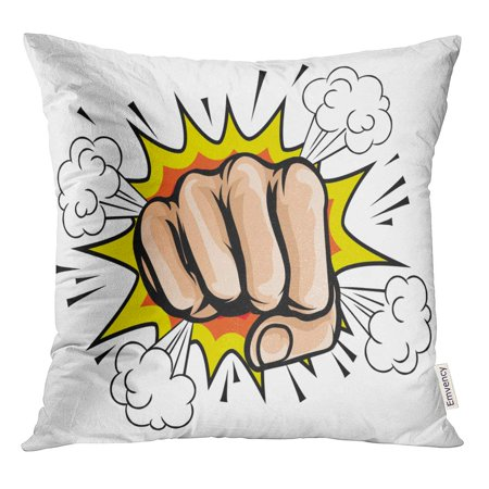 STOAG Punch Pop Cartoon Fist Comic Book Crash Explosion Graphic Impact Throw Pillowcase Cushion Case Cover 16x16