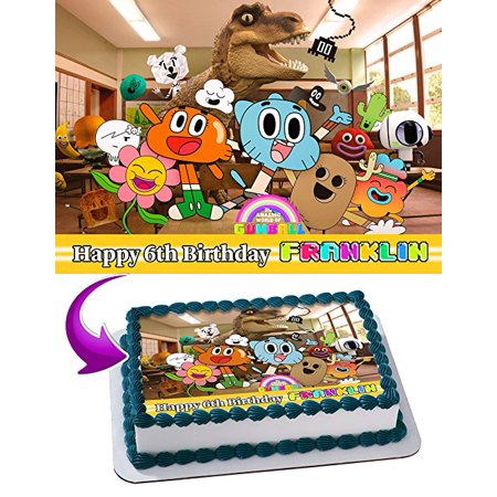 The Amazing World Of Gumball Birthday Cake Personalized Toppers Edible Frosting Photo Icing Sugar Paper A4 Sheet 1 4 Image For