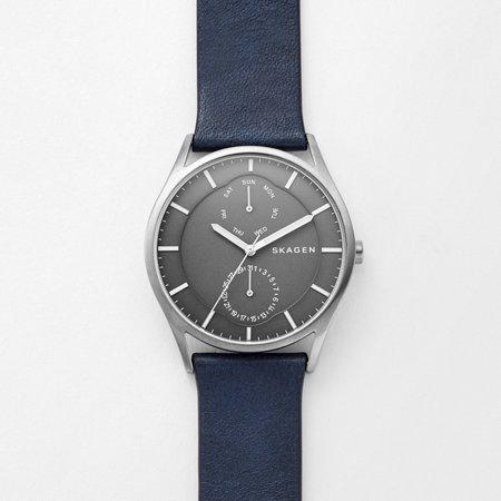 Skagen Titanium Watch - SKW6448 Men's Holst Titanium Case Leather Band Multifunction Analog Watch