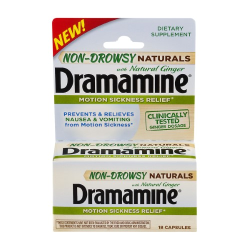 Dramamine Naturals Non Drowsy Tablets with Ginger (Pack of 12)