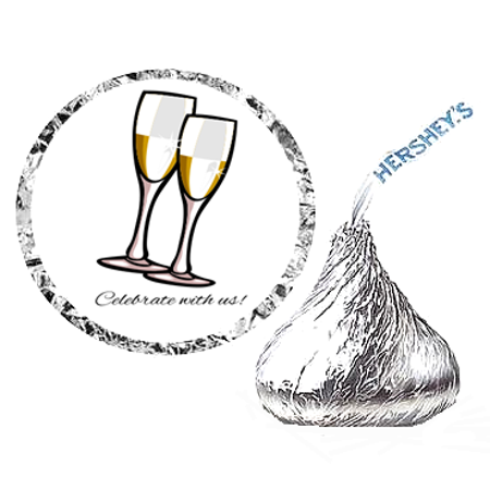 216 Wedding Wine Glasses Party Favor Hershey's Kisses Stickers / Labels - Wine Glass Wedding Favors