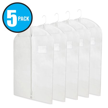 Plixio White Garment Bags for Travel and Clothing Storage Bags for Suits, Dress Shirts, Coats (5 Pack 40 Inch Bags)