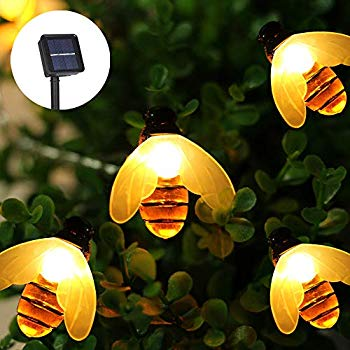 Solar Powered Honey Bee LED String Fairy Light 20//30leds Outdoor Garden Lights