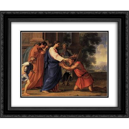 Eustache Le Sueur 2x Matted 24x20 Black Ornate Framed Art Print 'Christ Healing the Blind - Jesus Heals Blind Man