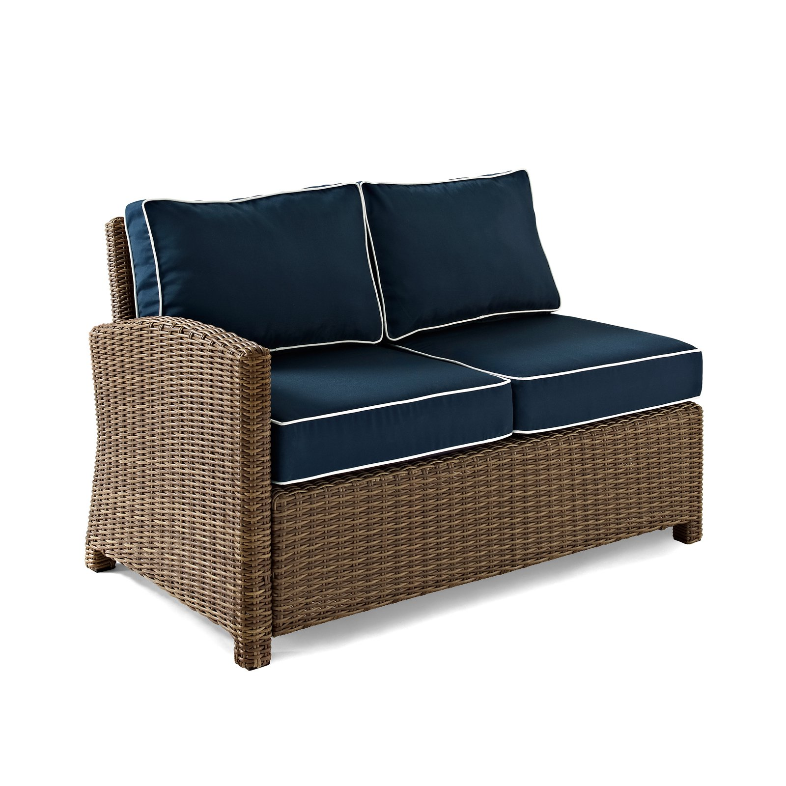 Crosley Furniture Bradenton Outdoor Wicker Sectional Right Loveseat With  Navy Cushions