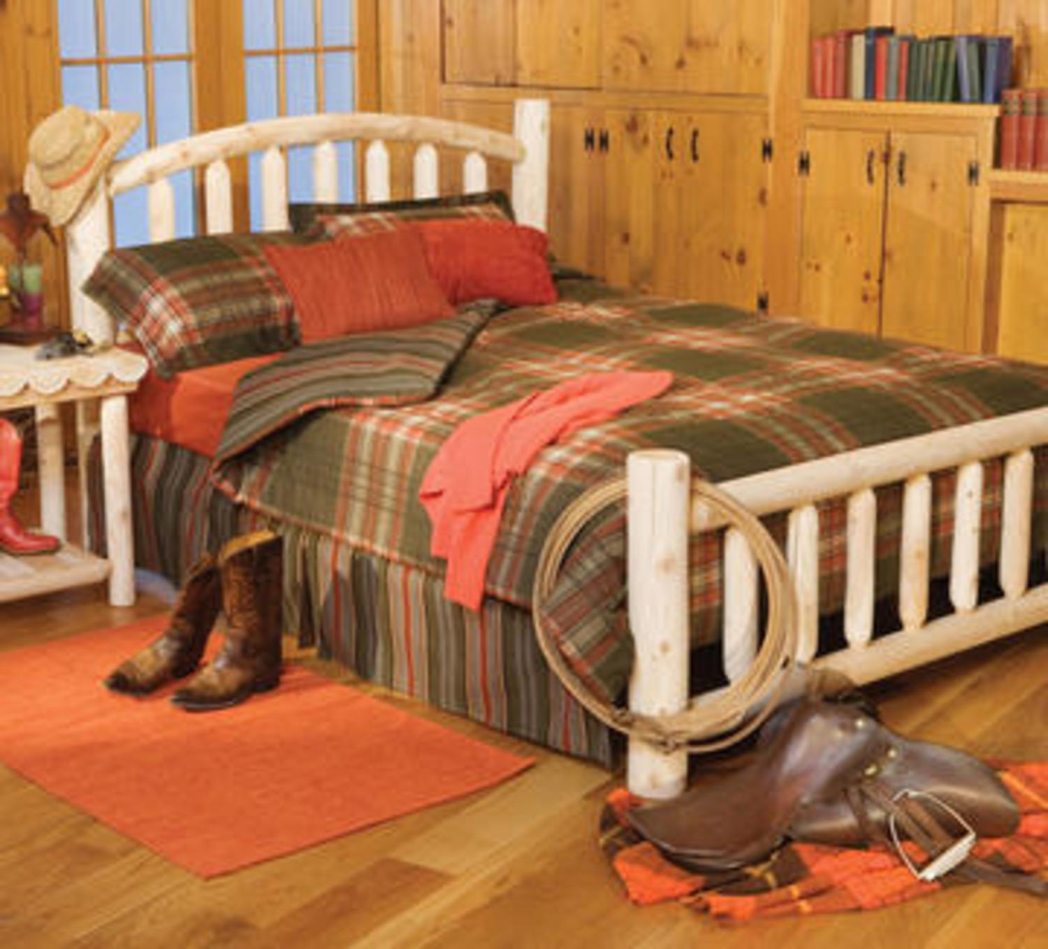 "76"" Handcrafted Cedar Log Style Arched Wooden Twin Bed Frame"