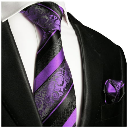 Paul Malone Purple and Black Silk Tie and Pocket Square Checkered Silk Necktie Tie