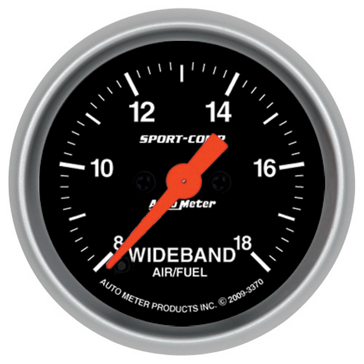 AutoMeter 3370 Sport-Comp Wide Band Air Fuel Ratio Kit; 2-1/16 in.; Black Dial Face; Fluorescent Red Pointer; White Incandescent Lighting; Electric Digital Stepper Motor; 8:1-18:1 AFR;