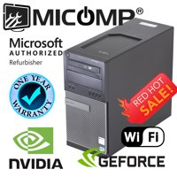 Refurbished Fast Dell Gaming Tower Computer Nvidia GT 1030 HDMI WiFi Win 10 Core i5 3.10Ghz 16GB, 128 SSD + 500GB