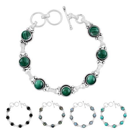 7mm Round Natural Onyx, Labradorite, Malachite, Moonstore or Turquoise Gemstone Link Bracelet 925 Silver Overlay Handmade Jewelry Malachite Strand Bracelet