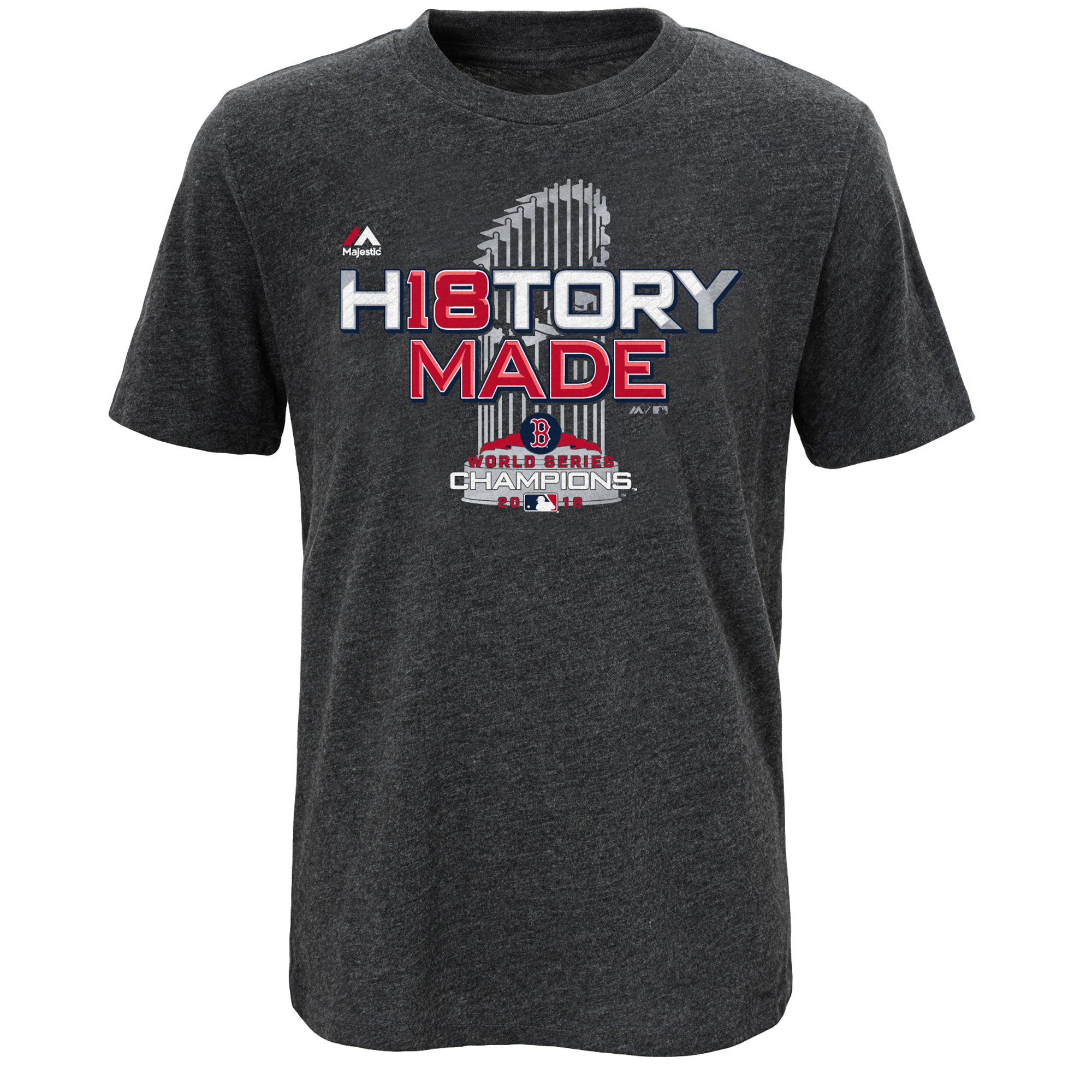 Boston Red Sox Majestic Youth 2018 World Series Champions Locker Room T-Shirt - Heather Charcoal