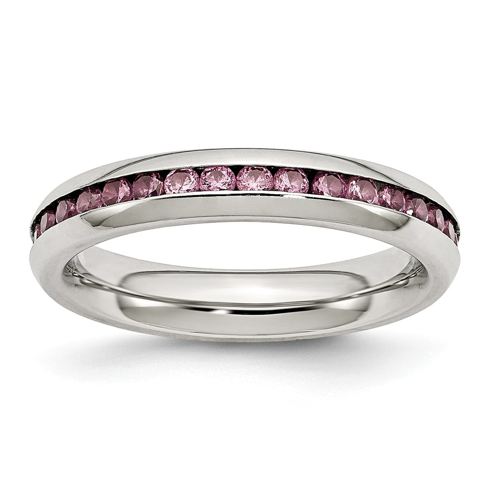 Stainless Steel June Pink CZ Ring