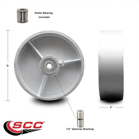 """6"""" x 2"""" Semi Steel Cast Iron Wheel Only with Roller Bearing - 1/2"""" Bore - 1200 lbs Capacity per Wheel  -  Service Caster Brand"""