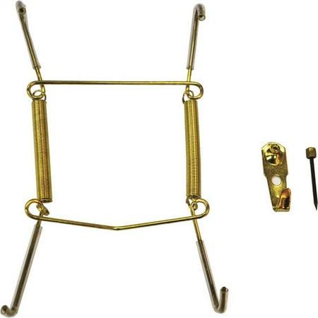 5-7 in. Plate Hanger Steel, Polished (Brass Plated Glass Hanger Rack)