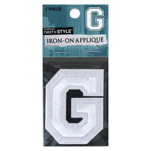 "Next Style Single Embroidery Letter, ""G"", White"