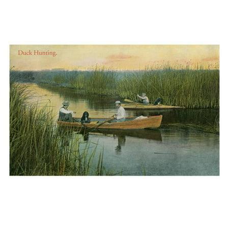 - Duck Hunting, Men in Rowboats Print Wall Art