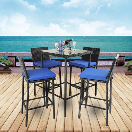 Patio Furniture Bar Stools and Table Garden Dining Set Outdoor Black Wicker  Chairs Royal Blue Cushion