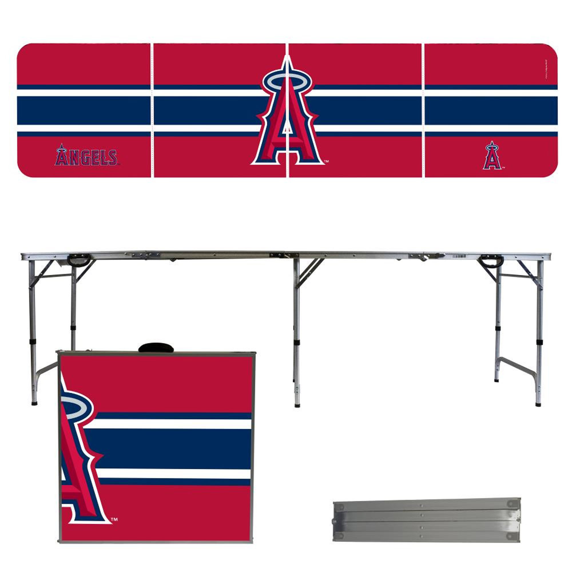 Los Angeles Angels Striped Design 8' Portable Folding Tailgate Table - No Size