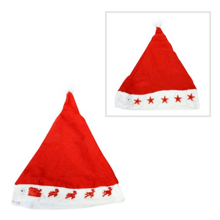 Light Up Red Felt Santa Hat - Felt Santa