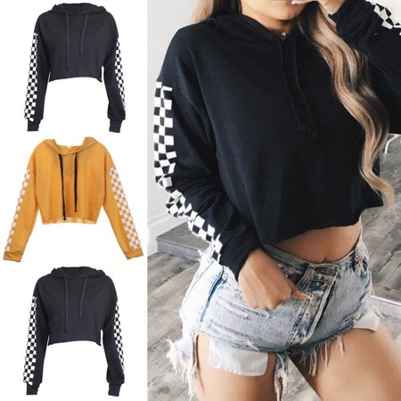 Fashion Womens Hooded Short Sweatshirt Plain Cropped Tops Pullover Jumper Top Shirts