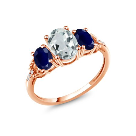 2.24 Ct Oval Sky Blue Aquamarine Blue Sapphire 10K Rose Gold Diamond Accent Ring (Blue Blue Sapphire Diamond)
