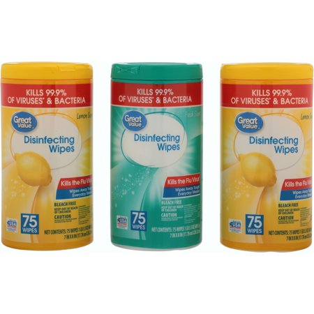 great value disinfecting wipes fresh lemon scent 225 wipes