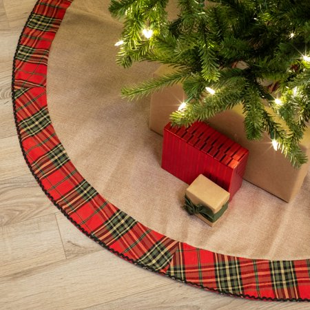 belham living rustic plaid cotton christmas tree skirt 48 diameter