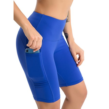 Women High Waist Workout Yoga Shorts Tummy Control Running Athletic Non See-Through Side Pockets Skinny Sport Gym (Best Leggings That Aren T See Through)