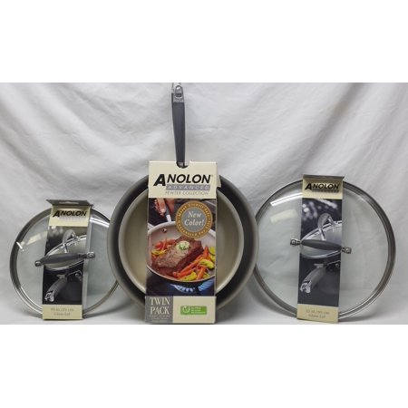 "Anolon Advanced French Skillet Twin Pack 10"" & 12"" Pewter Collection with Lids"