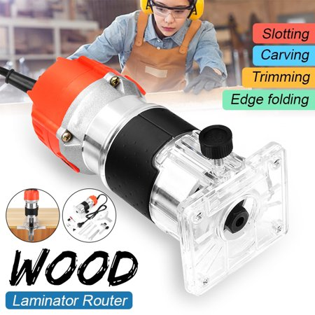 AC 220V 680W 30000RPM Electric Hand Wood Trimming Machine Trimmer Laminate Palm Router Joiner Tool Device + 220V to 110V Converter