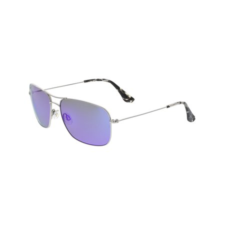 Maui Jim Men's Polarized Mavericks B264-17 Silver Aviator Sunglasses ()
