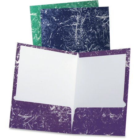 TOPS, OXF50190, Oxford Marble Laminated Twin Pocket Folders, 25 / Box, Navy,Purple,Charcoal,Emerald (Top Zip Computer Portfolio)