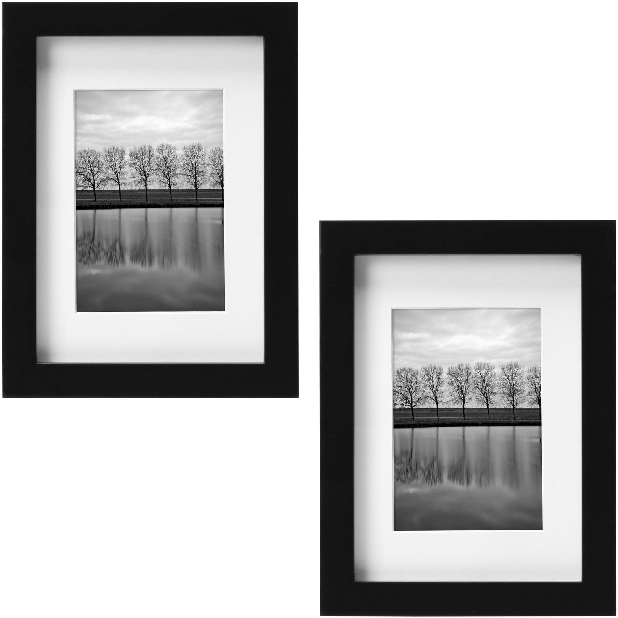 "Better Homes and Gardens Gallery 5"" x 7"" (12.7 cm x 17.78 cm) Matted to 3.5"" x 5"" (8.89 cm x 12.7 cm) Picture Frame, Black, Set of 2"
