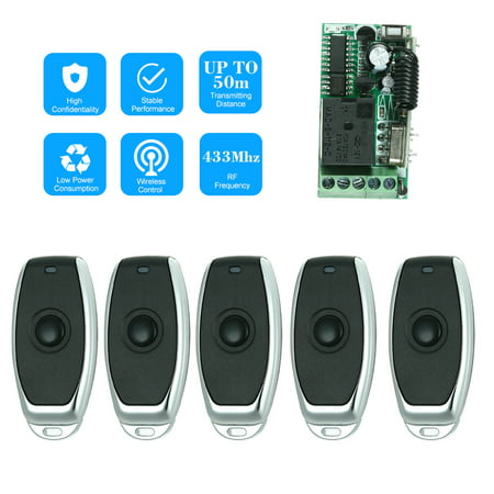 433Mhz DC 12V Universal RF Remote Control Switch Relay Receiver Module Mini 1CH Wireless Control Switch + 5PCS RF 433 Mhz Transmitter Remote Controls For Household Appliances Electronic Lock Control 1 ()