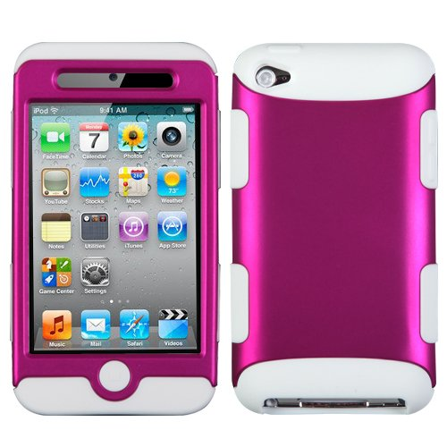 Dynamic Hybrid Tuff Gel Hard Case for Apple iPod Touch 4th Gen - White/Rose Pink