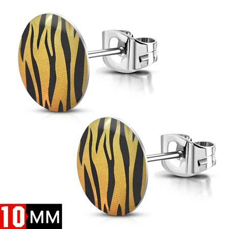 10mm Stainless Steel Acrylic Yellow and Black Zebra Stripes Circle Stud Earring