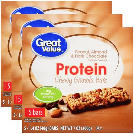 (3 Pack) Great Value Chewy Protein Bars, Peanut Almond & Dark Chocolate, 10g Protein, 5 -