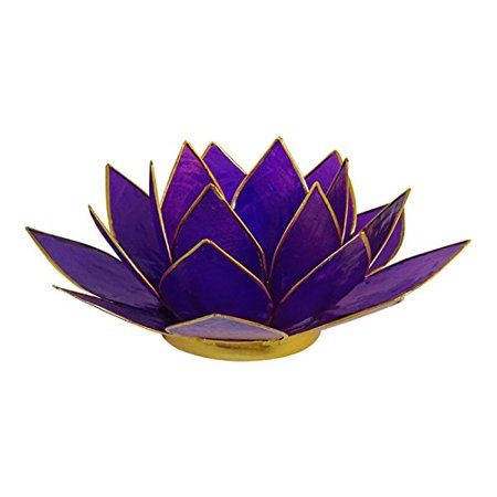 Lotus Tea Light Candle Holder Capiz Shell Decorating Accent Home Decor Gift Ideas, Purple