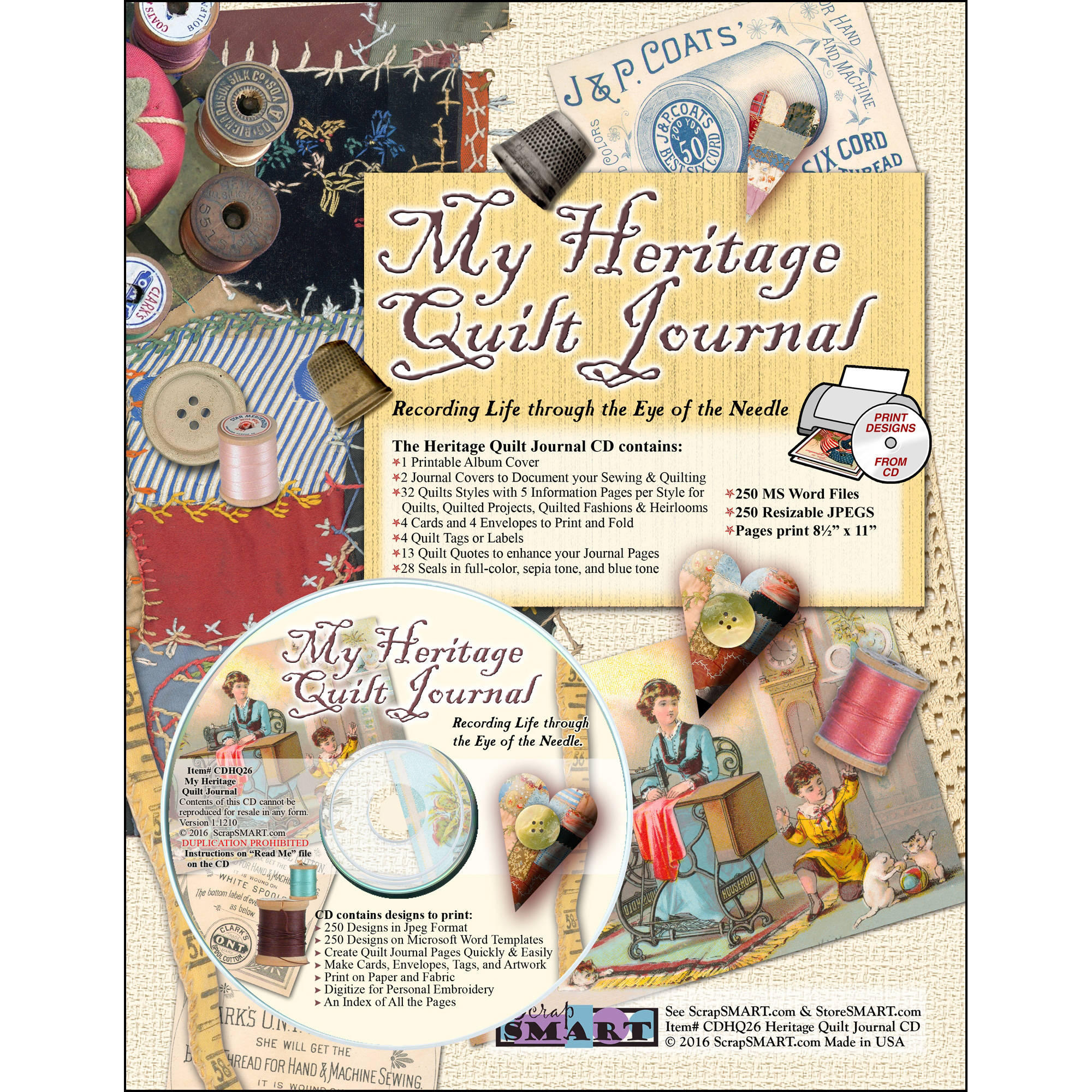 ScrapSMART My Heritage Quilting Journal CD-ROM