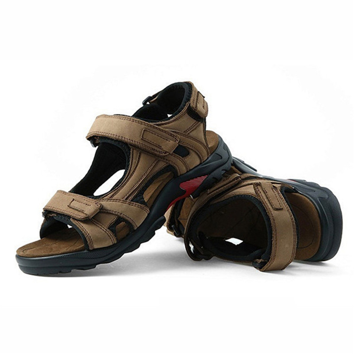 Gracosy Mens Casual Sport Shoes Leather Flat Hook-Loop Sandals For Home Work Outdoor 2 Colors