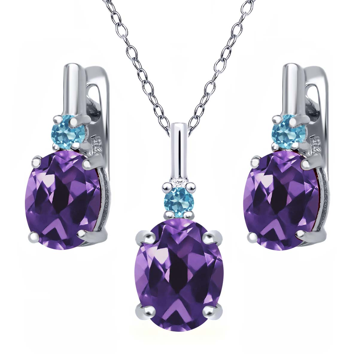 5.06 Ct Amethyst and Swiss Blue Simulated Topaz 925 Silver Pendant Earrings Set by