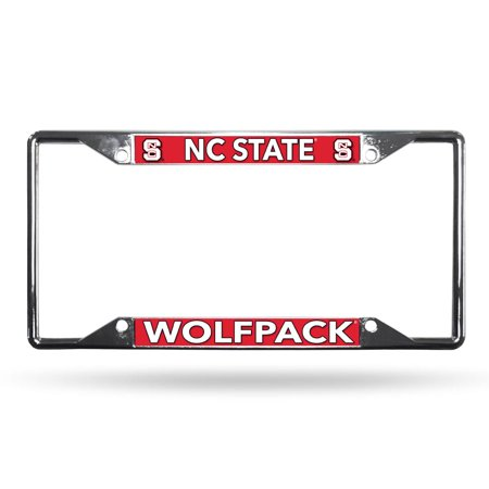 North Carolina NC State Wolfpack NCAA Lightweight Chrome Metal License Plate Frame North Carolina State Wolfpack Car