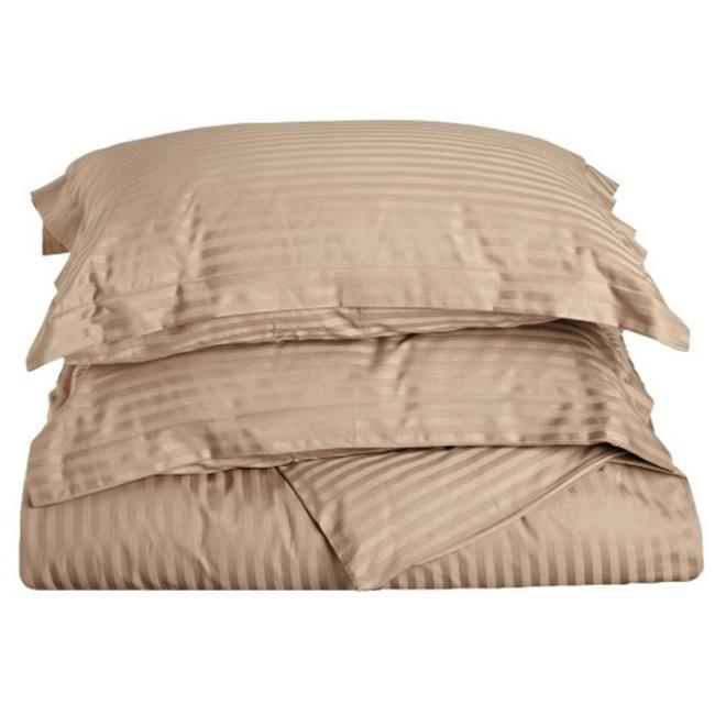 Impressions 300KCDC STTP 300 King & California King Duvet Cover Set, Egyptian Cotton Stripe - Taupe